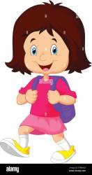 School girl cartoon walking Stock Vector Image & Art Alamy
