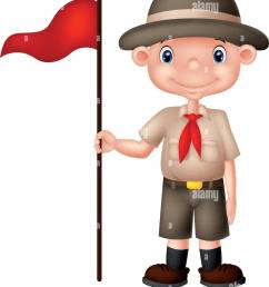 cartoon boy scout holding red flag [ 1120 x 1390 Pixel ]