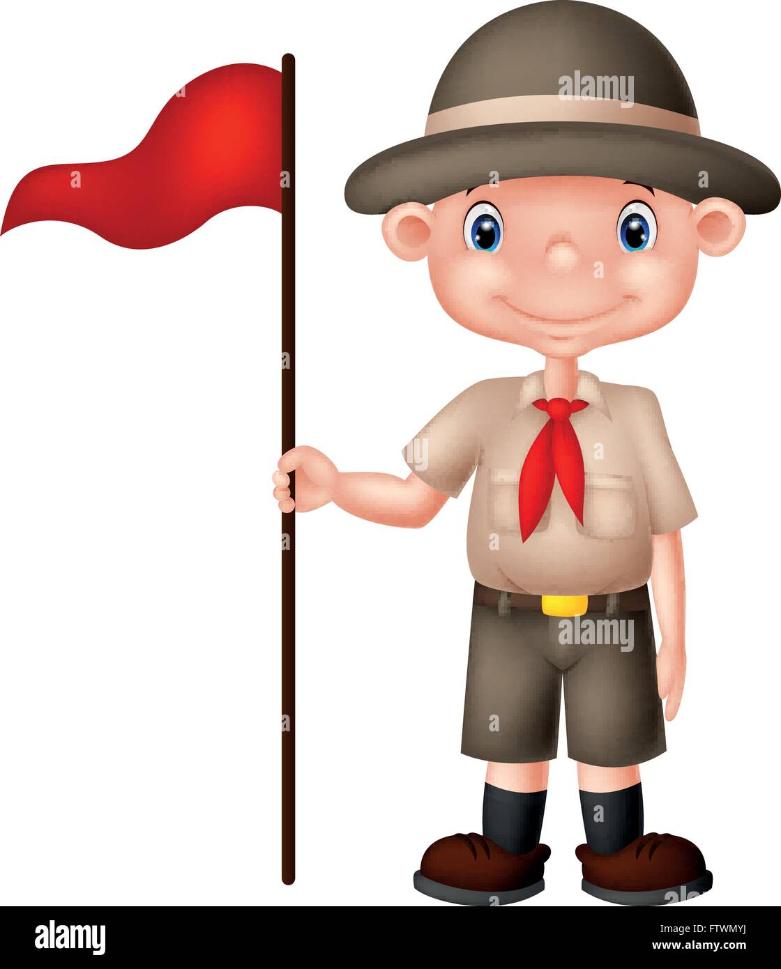 hight resolution of cartoon boy scout holding red flag