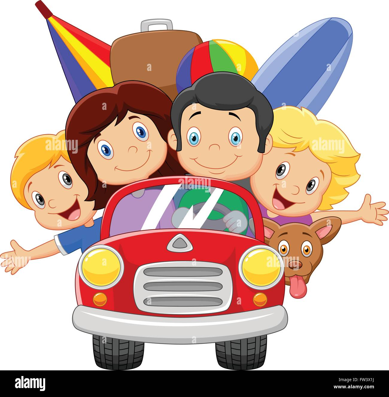 Cartoon Vacation With Family Stock Vector Image Art Alamy