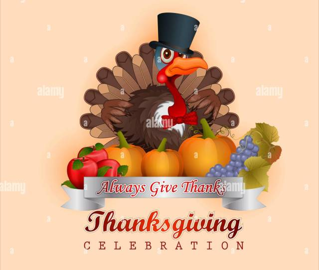 Thanksgiving Design With Turkey Very Proud Of His Appearance Wearing Top Hat Bow Tie Autumn Harvest Of Fruits Vegetables