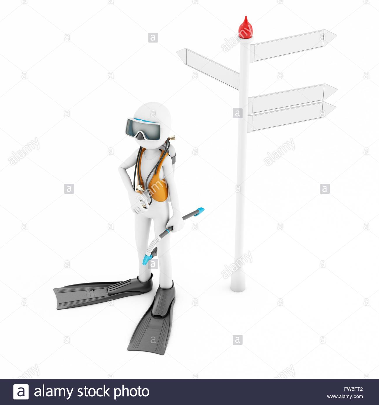 scuba gear diagram ge sub panel wiring 3d man near stock photos with signpost on white background image