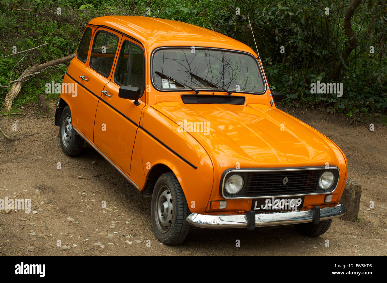 hight resolution of a classic orange renault 4