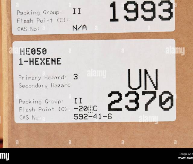 A Un Id Label For Un2370 1 Hexene Label On The Packaging Of A Delivery Of Chemicals To A Uk High School