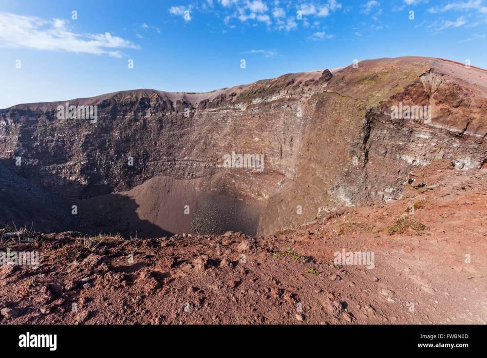 medium resolution of the crater of vesuvius volcano stock image
