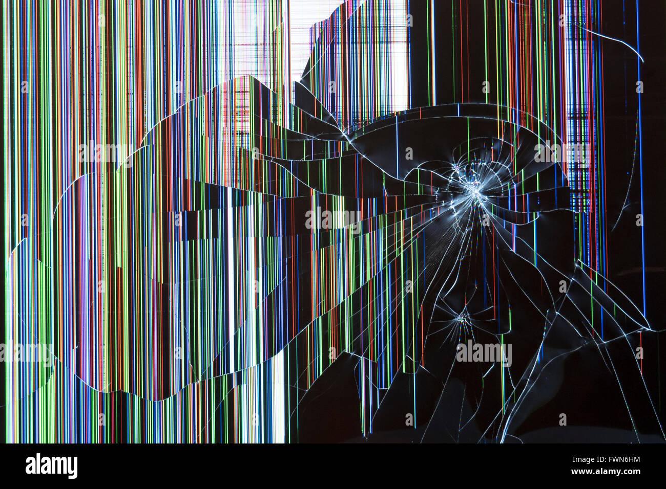 3d Broken Screen Wallpaper Smashed Video Screen Stock Photo 101884432 Alamy