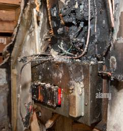 a fusebox in a house which caught fire due to a power surge stock [ 866 x 1390 Pixel ]