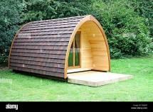 Modern Wooden Camping Pod Cabin Hut Stock