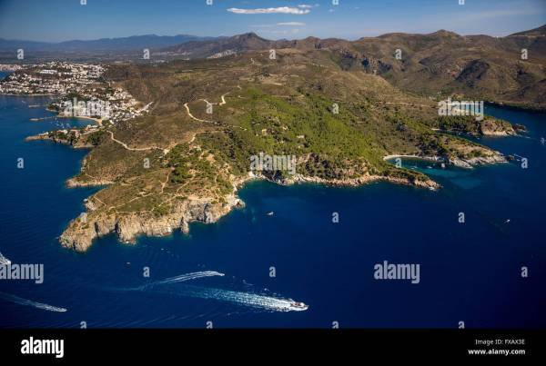 Aerial view, bays for boats and divers, Mediterranean Bay ...
