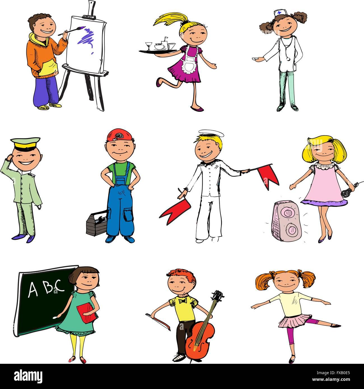 Children Professions Characters Stock Vector Art