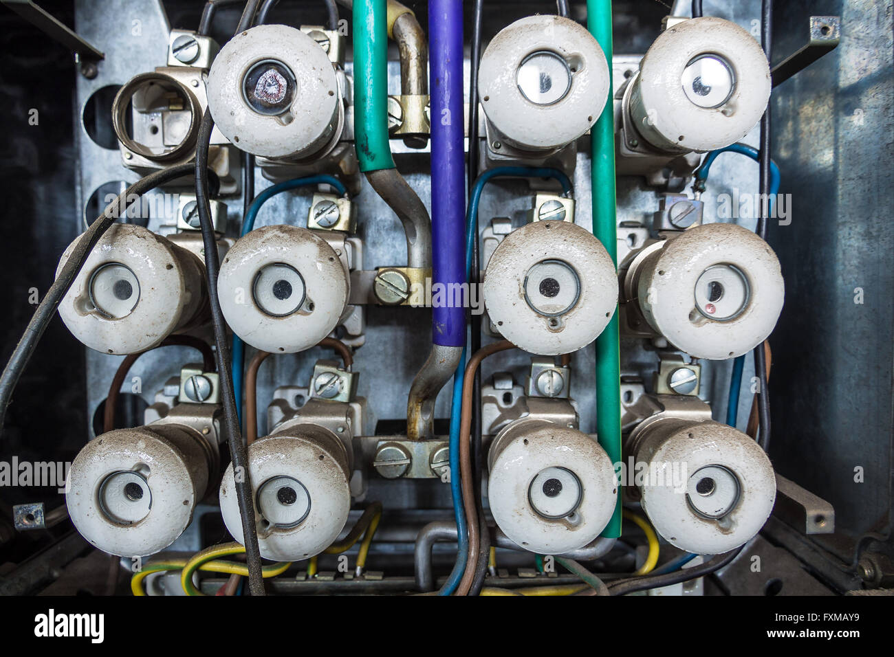 hight resolution of an old fuse box out of order stock image
