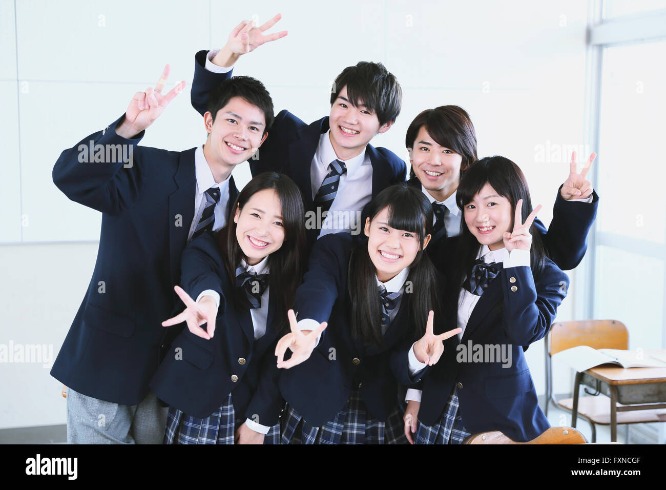 Japanese High School Student Taking Group Shot In