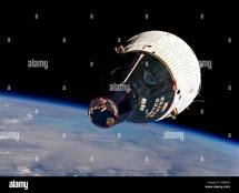 Gemini 6 Space Capsule In Earth Orbit Viewed