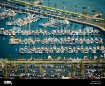 Aerial View Downtown Long Beach Boat Marina