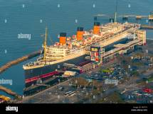 Aerial View Rms Queen Mary Ocean Liner Hotel