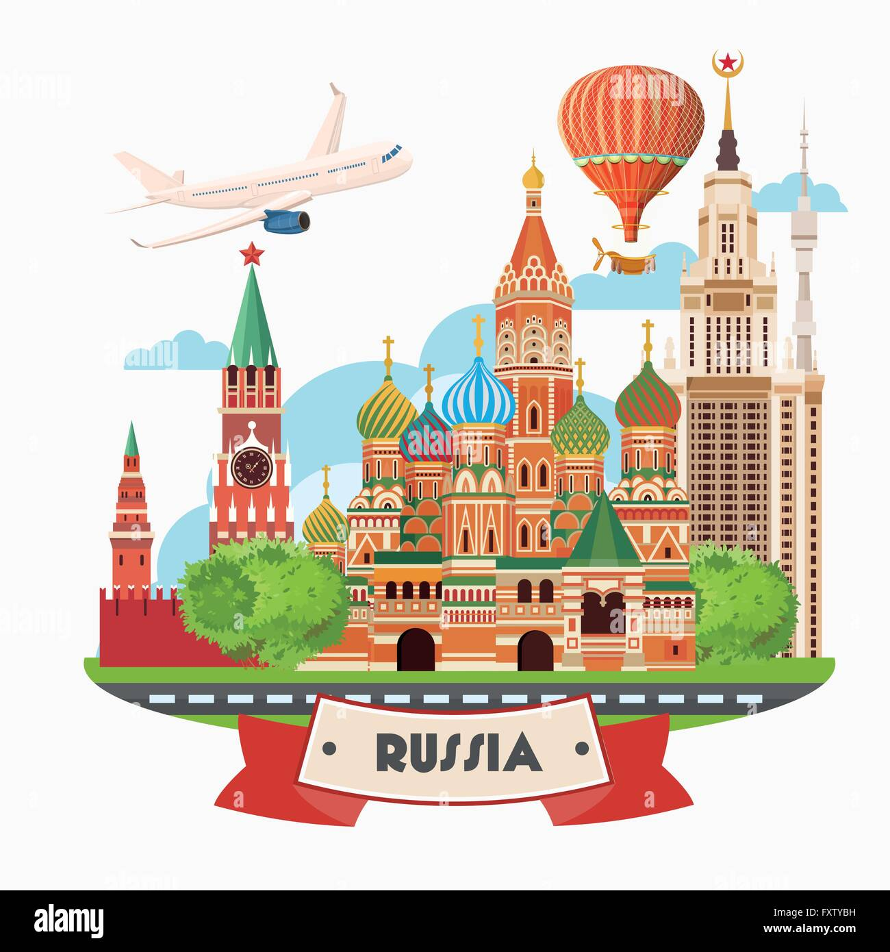 Russia Vector Poster Russian Background With City