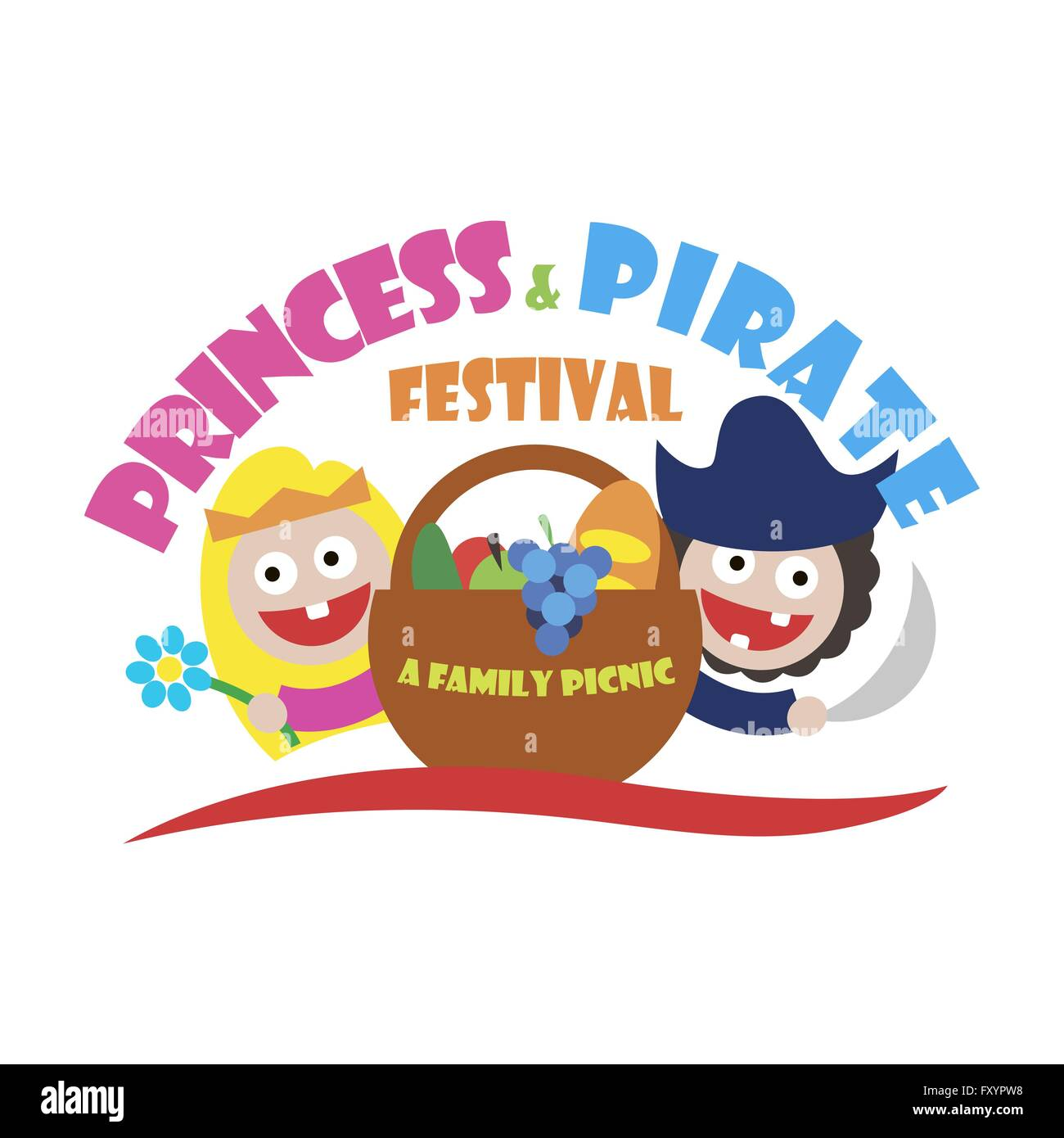 hight resolution of logo princess and pirate festival a family picnic vector illustration stock vector