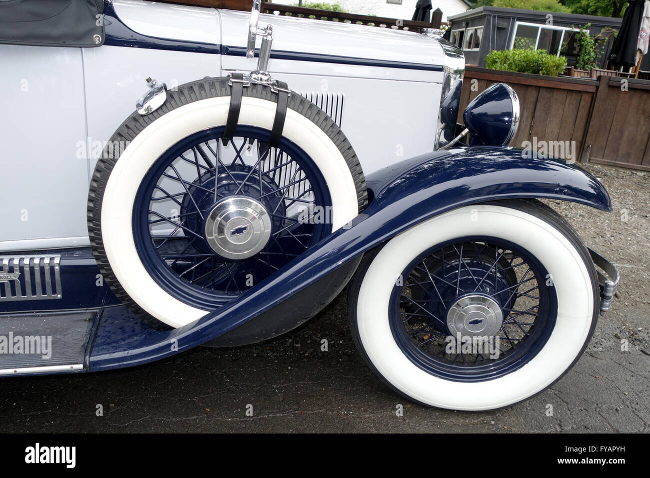 hight resolution of spare wheel on a 1930 chevrolet universal vintage car seen in arrowtown south island