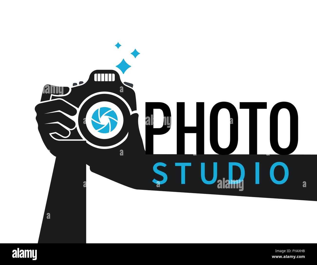 Photographer hands with camera flat illustration for icon