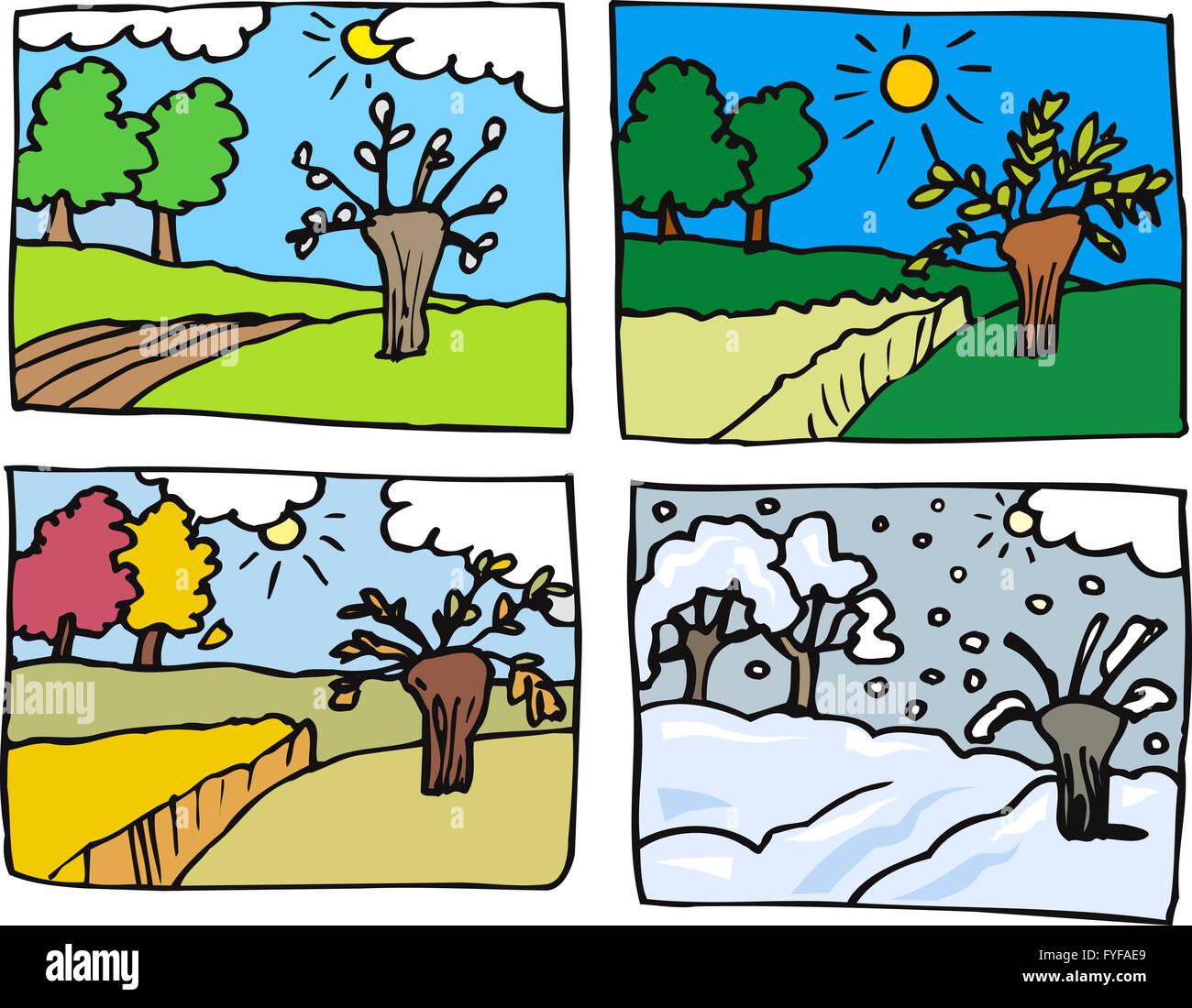 Four Seasons Cartoon Illustration Stock Photo