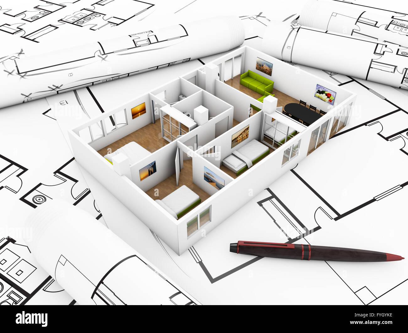A Flat Mockup Over Plots Interior Design Concept Stock Photo