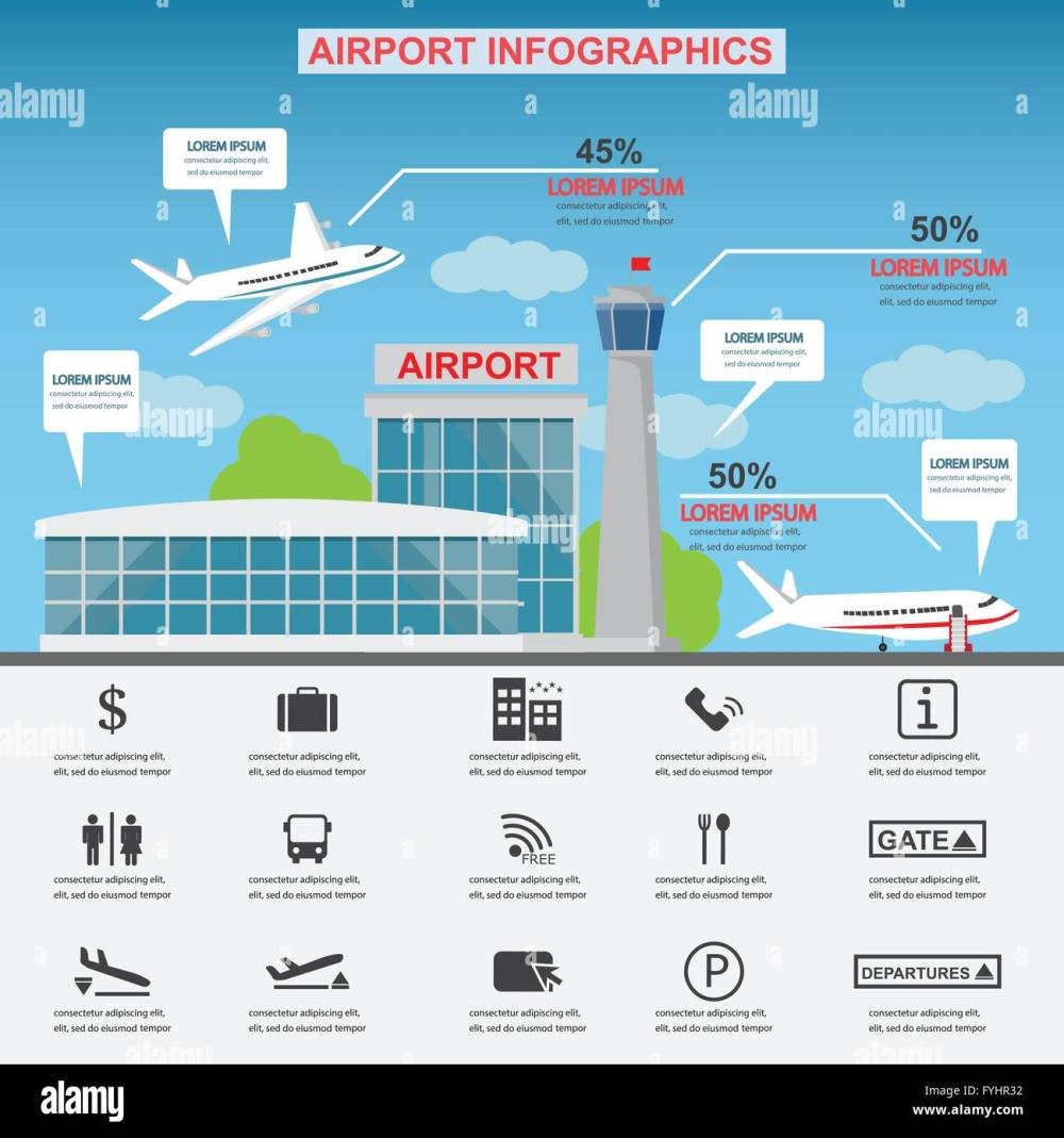 medium resolution of airport service business icons with architect and airplane design can be used for statistic business