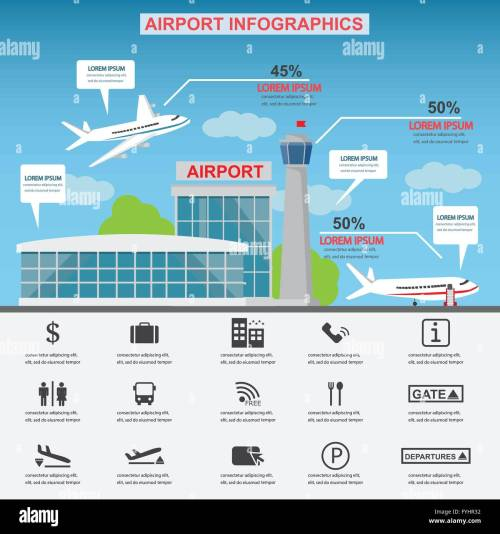 small resolution of airport service business icons with architect and airplane design can be used for statistic business