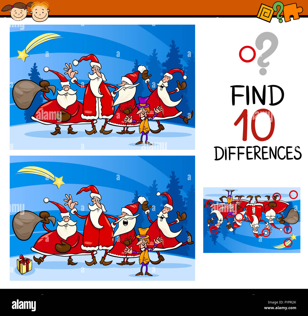 Christmas Find Differences Task Stock Photo