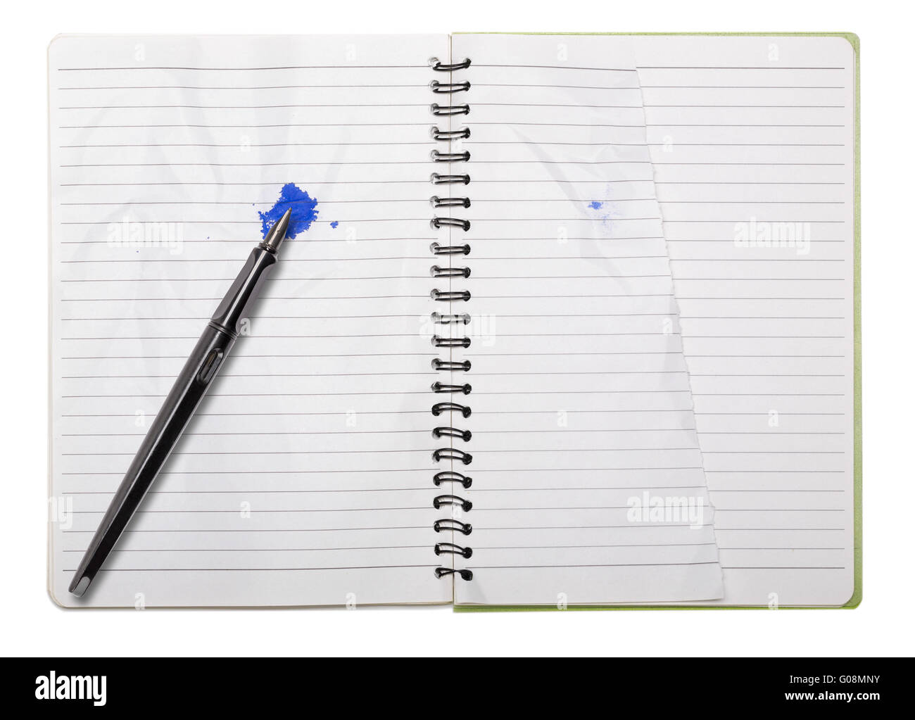 Used Blank Note Book With Ring Binder, Tattered Page And Fountain Pen,  Isolated On