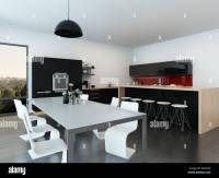 Modern open-plan apartment interior with a stylish ...