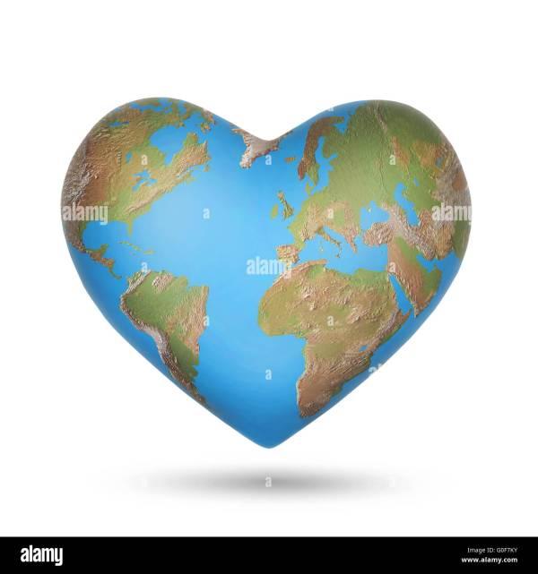 Planet Earth In Shape Heart Stock &