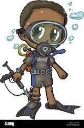 african boy american clip cartoon vector scuba alamy wearing shopping
