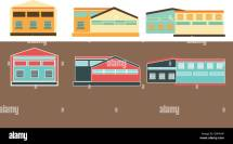 Industrial Building Factory Flat Icons Stock