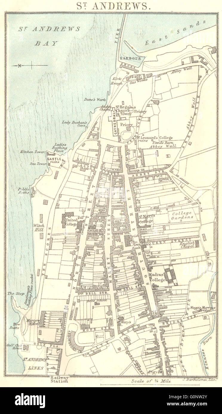 Map Of St Andrews Scotland : andrews, scotland, SCOTLAND:, Fife:, Andrews, Plan,, Antique, Stock, Photo, Alamy