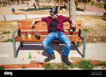 Alcohol Drink Park Bench Stock &