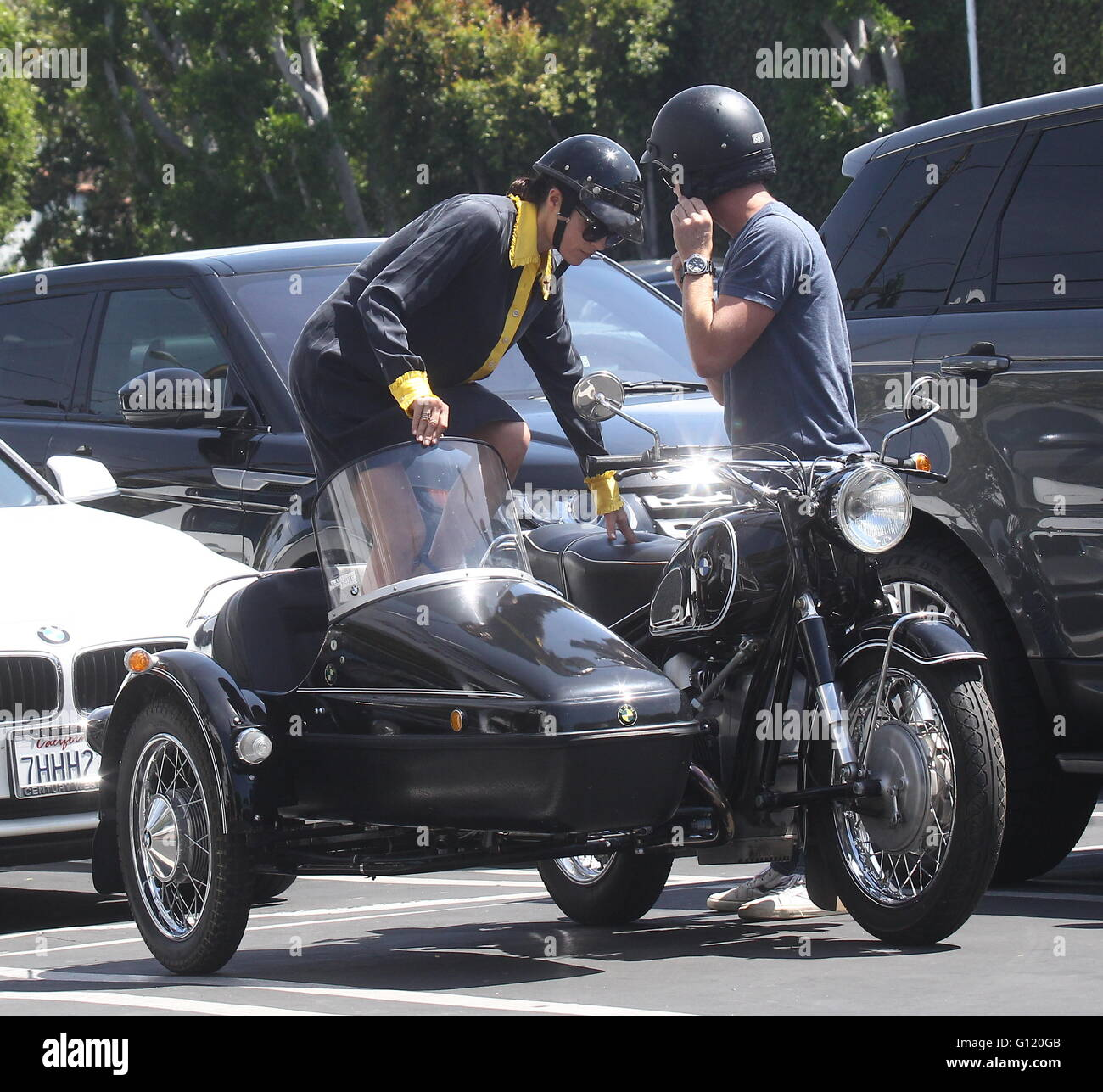 hight resolution of selma blair takes a ride in a sidecar of a vintage bmw motorcycle with a male