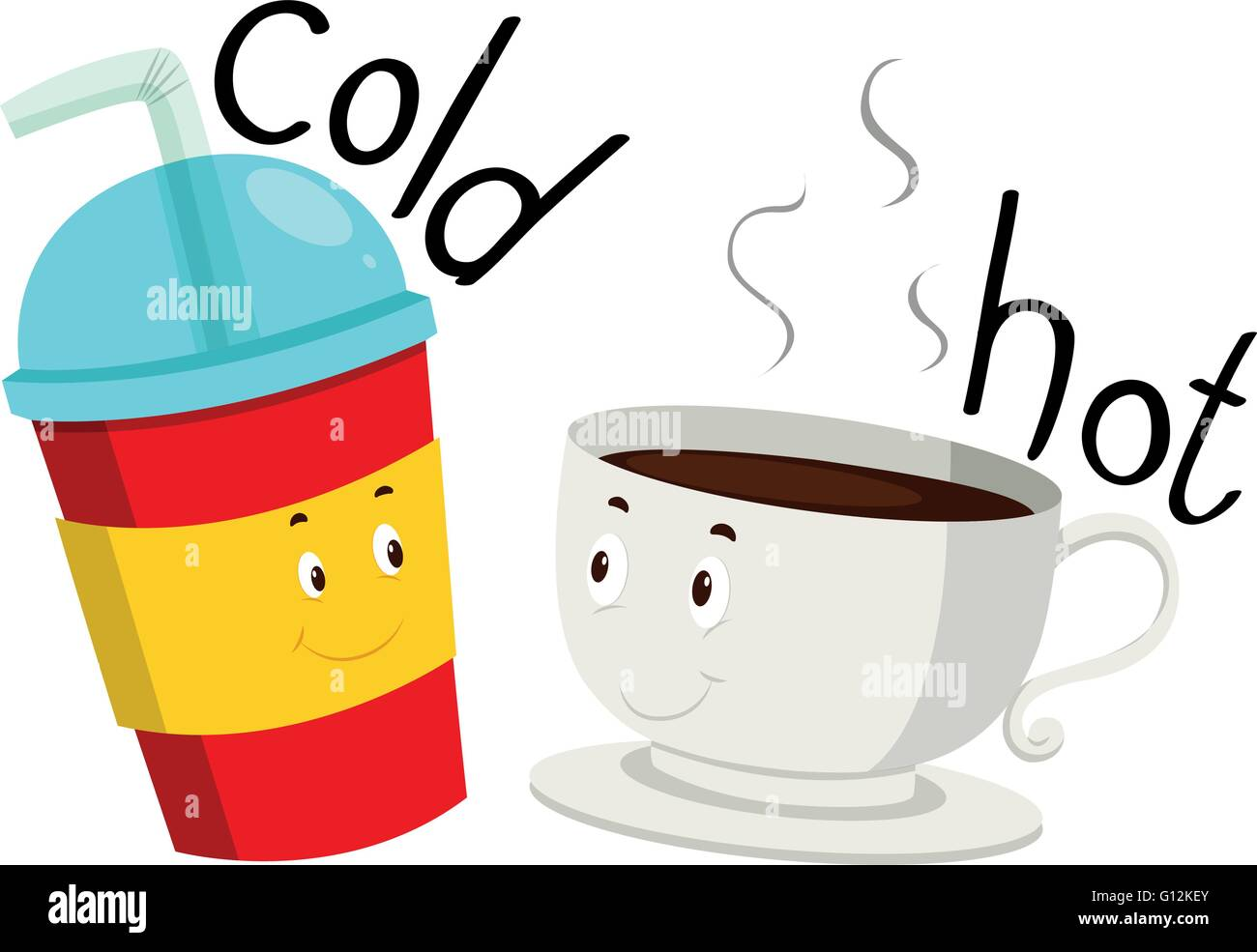 Opposite Adjective Cold And Hot Illustration Stock Vector