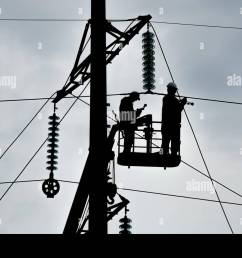 power line support insulators and wires appearance of a design assembly and installation of new support and wires of a power [ 1300 x 956 Pixel ]