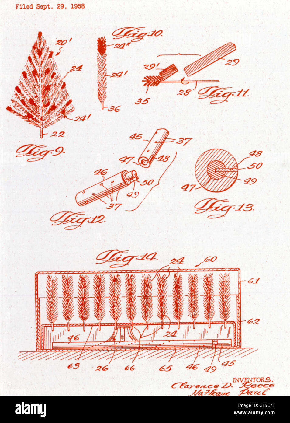 hight resolution of diagram of an aluminum christmas tree submitted for a u s patent file on september 29 1958 by inventors clarence d reece and nathan paul