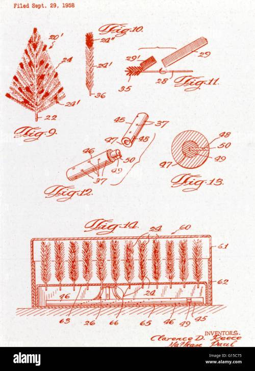 small resolution of diagram of an aluminum christmas tree submitted for a u s patent file on september 29 1958 by inventors clarence d reece and nathan paul