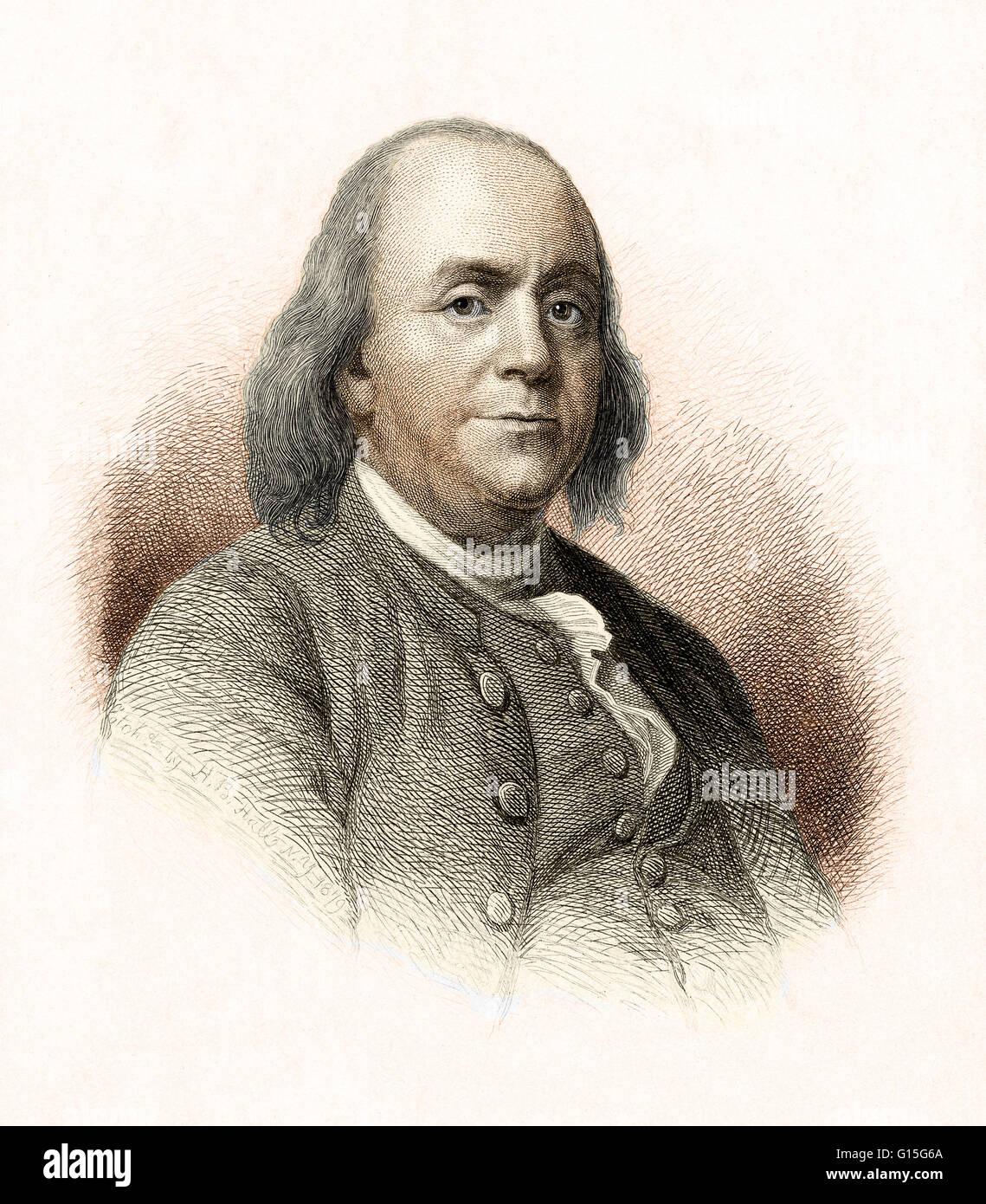 Benjamin Franklin Etching By H B Hall Benjamin
