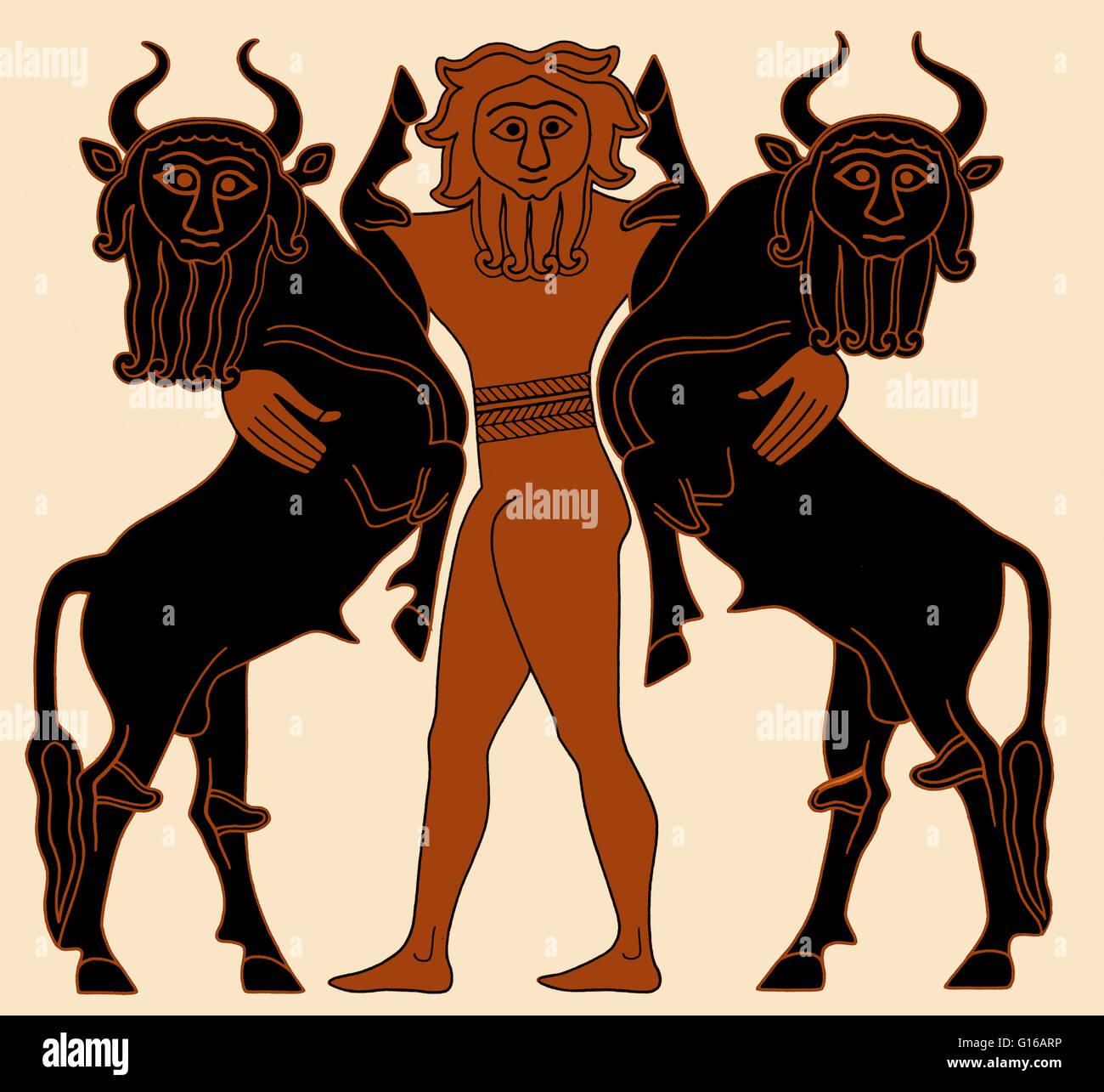 Illustration Depicting Gilgamesh Subduing Two Bulls Based