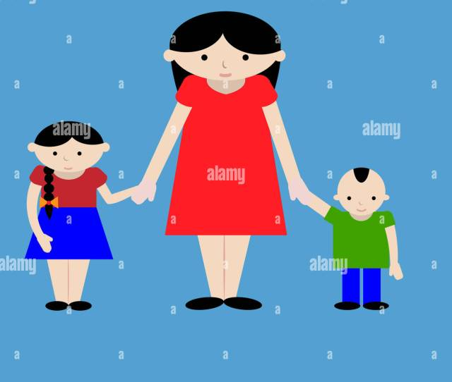 Mother Standing With Two Kids Cartoon Illustration Mom With Her Boy And Girl Brother With Sister And Their Mother