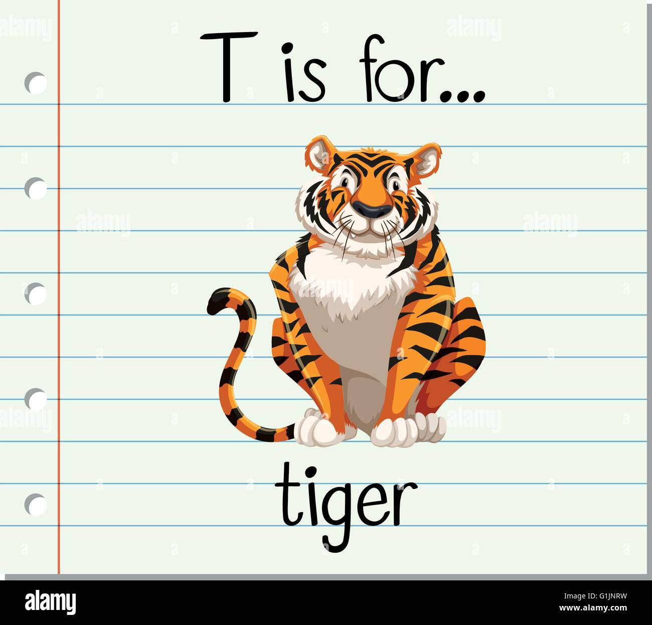 Flashcard Letter T Is For Tiger Illustration Stock Vector