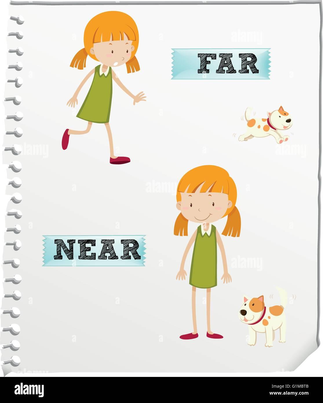 Opposite Adjectives Far And Near Illustration Stock Vector Art Amp Illustration Vector Image