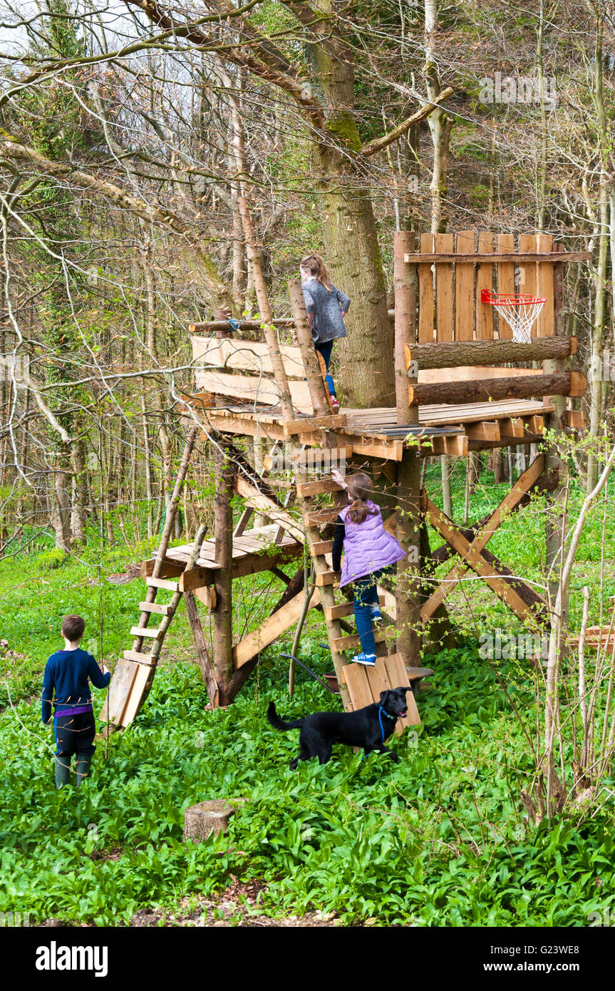 Children And Dog Playing In Treehouse In Batheaston Somerset Stock Photo Alamy