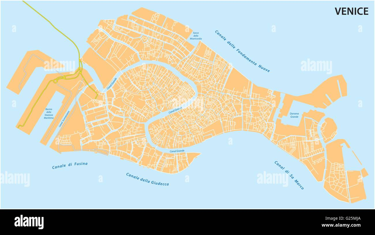 Outline Map Of The Italian Town Of Venice Stock Vector Art