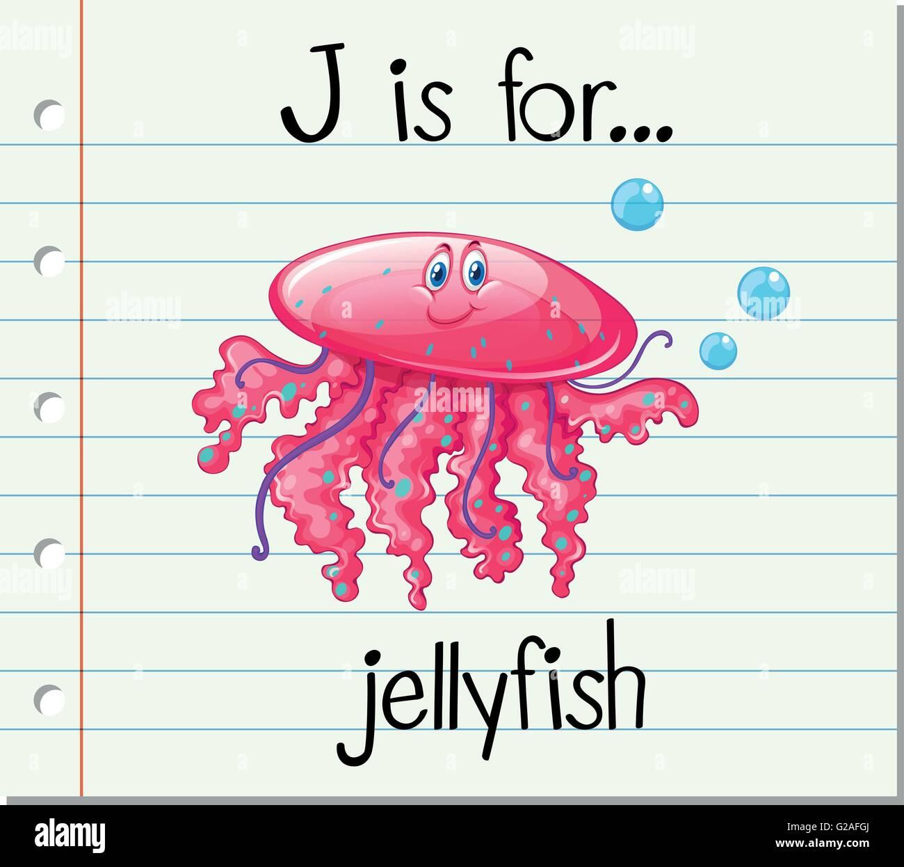 Flashcard Letter J Is For Jellyfish Illustration Stock Vector Art Amp Illustration Vector Image