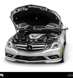 2011 mercedes benz e350 coupe with open hood [ 1300 x 1166 Pixel ]