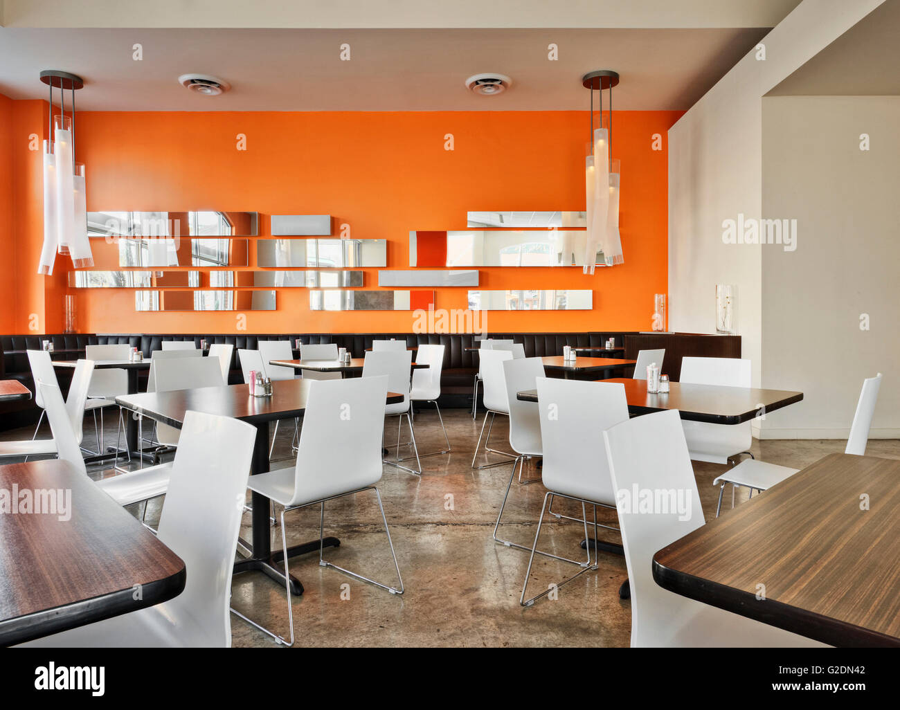 orange cafe chairs folding chair kitty modern café with walls and white stock photo
